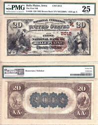 1882 Bb 20 First National Bank Of Belle Plaine Iowa Fr.499 Ch2012. Pmg Vf25