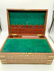 Antique English 1870and039s Mahogany Writing Slope Desk Inlaid Intricate Brass Design