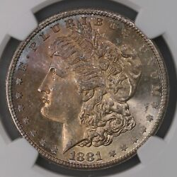 1881-s Morgan 1 Ngc Cac Certified Ms67 Colorful Toned Obverse