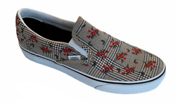 Womenand039s Size 9.5 Classic Slip On [glen Plaid Floral] Canvas Shoes New Fast