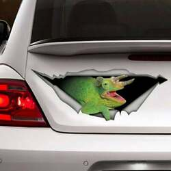 Green Chameleon Car Crack Decal Pet Funny Decal Animal Crack Sticker 3D 12x12quot;