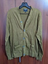 Mens Todd Snyder Cardigan Sweater S Small Olive Green Cotton