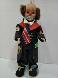 Vintage Porcelain Clown Doll With Stand Frowning Face Black Suit Shoes 16 Tall