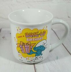 Smurfs Coffee Cup Mug Have A Bang Up Birthday 1982 Berrie And Co. Vintage Cartoon