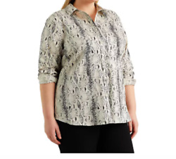 New Chaps No Iron Plus Pearl And Charcoal Cotton Blouse 3x Nwt 65.