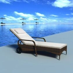 Poly Rattan Sun Lounger With Cushion And Wheels Pool Chair Garden Beach Lounger Us