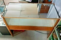 Vintage Birdseye Maple Store Display Case With Mirror Top And 3 Storage Drawers