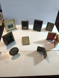 Lot Of 9 Antique / Vintage Bronze ,wood, Bronze Small Picture Frames