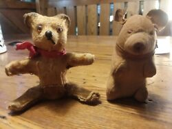2 Antique Small Toy Bears Made In Germany Inside Is Wood Steiff Hermann