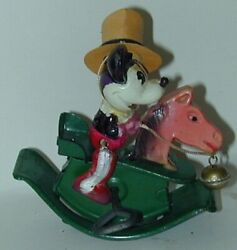 Rare Celluloid Miniature Mickey Mouse Cowboy On Tin Rocking Horse Japan 1930s