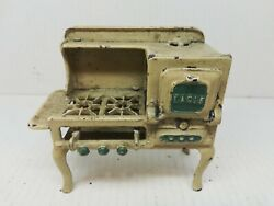 Miniature Cooking Toy Beige/green Eagle Cast Iron Stove W Oven And Vent