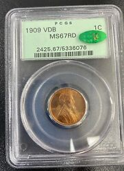 1909 Vdb Lincoln Penny Pcgs Graded Ms67 Rd Cac