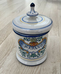 Stunning Hand Painted Italian Ceramic Lidded Kitchen Canister Signed 7andrdquo X 4andrdquo