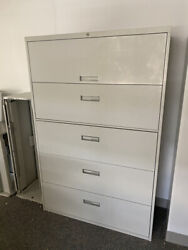 White 5-tiered Filing Cabinets 42x18x64 1/2 By Steelcase