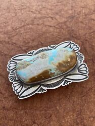 Navajo Vintage Royston Turquoise And Sterling Silver Belt Buckle