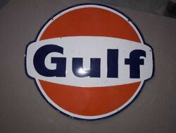Porcelain Gulf Sign Size 30 Double Sided Pre-owned.