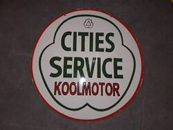 Cities Service Koolmotor Porcelain Sign 30 Double Sided