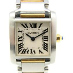 Tank Francaise Sm Watch Stainless Steel 18k Yellow Gold White 4634