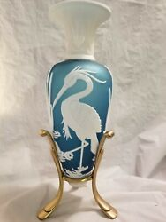 Fenton By Kelsey Murphy-bomkamp Blue With White Crane Bird 13and039and039tall Exc.conditi