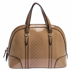 Beige Micro Guccissima Patent Leather Nice Satchel