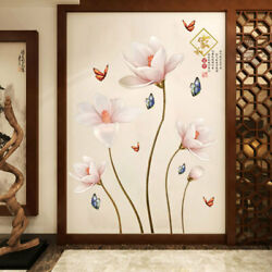 PVC Removable 3D Lotus Flower Wall Sticker Living Room Bedroom Home Decor