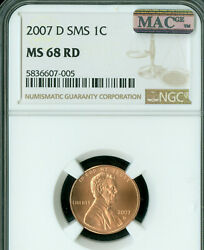 2007-d Lincoln Cent Ngc Ms-68 Sms 2nd Finest Mac Spotless Pop-14 Rare .