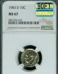1983-d Roosevelt Dime Ngc Ms67 90ft Pq Mac Finest Mac Spotless 2,250.00 In Ft.