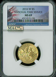 2016-w National Parks 5 Gold Ngc Mac Ms-69 Spotless Rarest At 5150 Minted