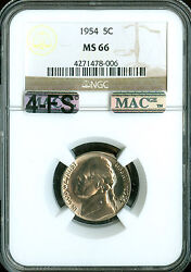 1954 Jefferson Nickel Ngc Mac Ms66 4fs Pq 2nd Finest Rare 2500.00 For A Fs