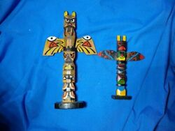 Vintage Handcarved And Painted Wooden Totem Poles Camp 1970s