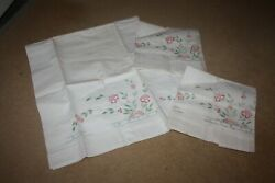 Lovely Vintage Embroidered Bolster And Pillowcases Set White And Pastel Unused 6727
