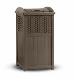 Suncast Resin Wicker Outdoor Patio Trash Can Hideaway Hold 30 Gallon Garbage Bag