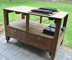 Red Cedar Bbq Grill Stand W/2 Weber Portable Charcoal Grills, Summer Fun And Yum