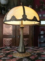 Original Antique 1907 Arts And Crafts E. Miller Table Lamp Curved Caramel Glass