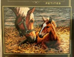 GOOD MORNING DIMENSIONS GOLD COLLECTION PETITE CROSS STITCH KIT NEW HORSES