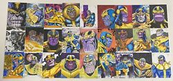 2018 Marvel Masterpieces Thanos Sketch Card Lot Of 27 Cards By Various Artists