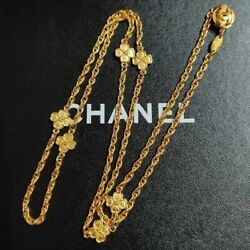 Necklace Vintage Long Gold Plated Chain Clover Charms 1983 Auth With Bpx