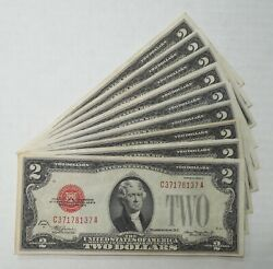 9- 1928 D/f/g -united States Notes/legal Tender- 2- Large Red Seal- Nice Xf-au