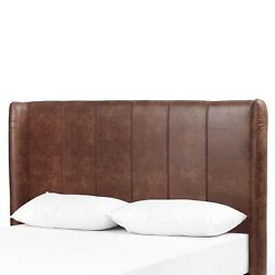 69 W Leather Brown Color Striped Headboard Queen Bed Modern Rustic Contemporary