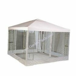10and039 X 10and039 Single Tiered Replacement Gazebo Canopy Top Cover And Netting Set -
