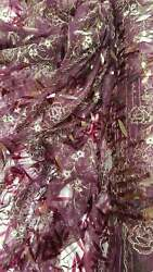 Plum Sequin Lace Gold Floral Flowers Embroidered On Mesh Plum Fabric Sold By Yrd