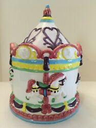 Vintage '80s Carousel Cookie Jar Carousel Horses, Pink, Purple And Yellow Trim