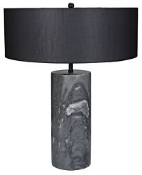 21 H Black Cylinder Marble Base Table Lamp Black Wide Drum Fabric Shade Modern