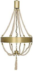 55 H Hanging Brass Finish Metal Chandelier White Connecting Rope Elegant Chic