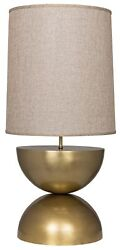 34 H Double Half Dome Base Table Lamp Rustic Brass Metal Finish Beige Shade