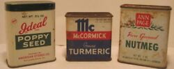 3 Old Advertising Kitchen Spice Tins - Country Store Display