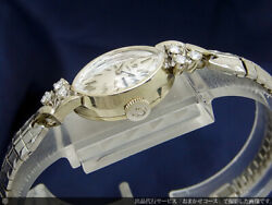 Omega Watch 14kwg White Gold Solid Gold Diamond Art Deco Cut Glass Antique