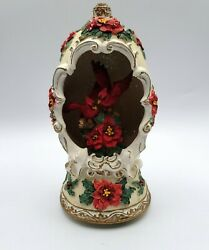 Cardinal And Poinsettia Christmas Open Egg Music Box In The Moonlight Tune Nice