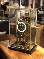 Skeleton Clock With Fusee Movement And Subsidiary Dial Under Case. Working Order.