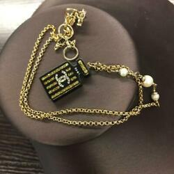 Necklace Gold Plated Black Glitter No.5 Perfume Bottle Charm Cc Logo 17a